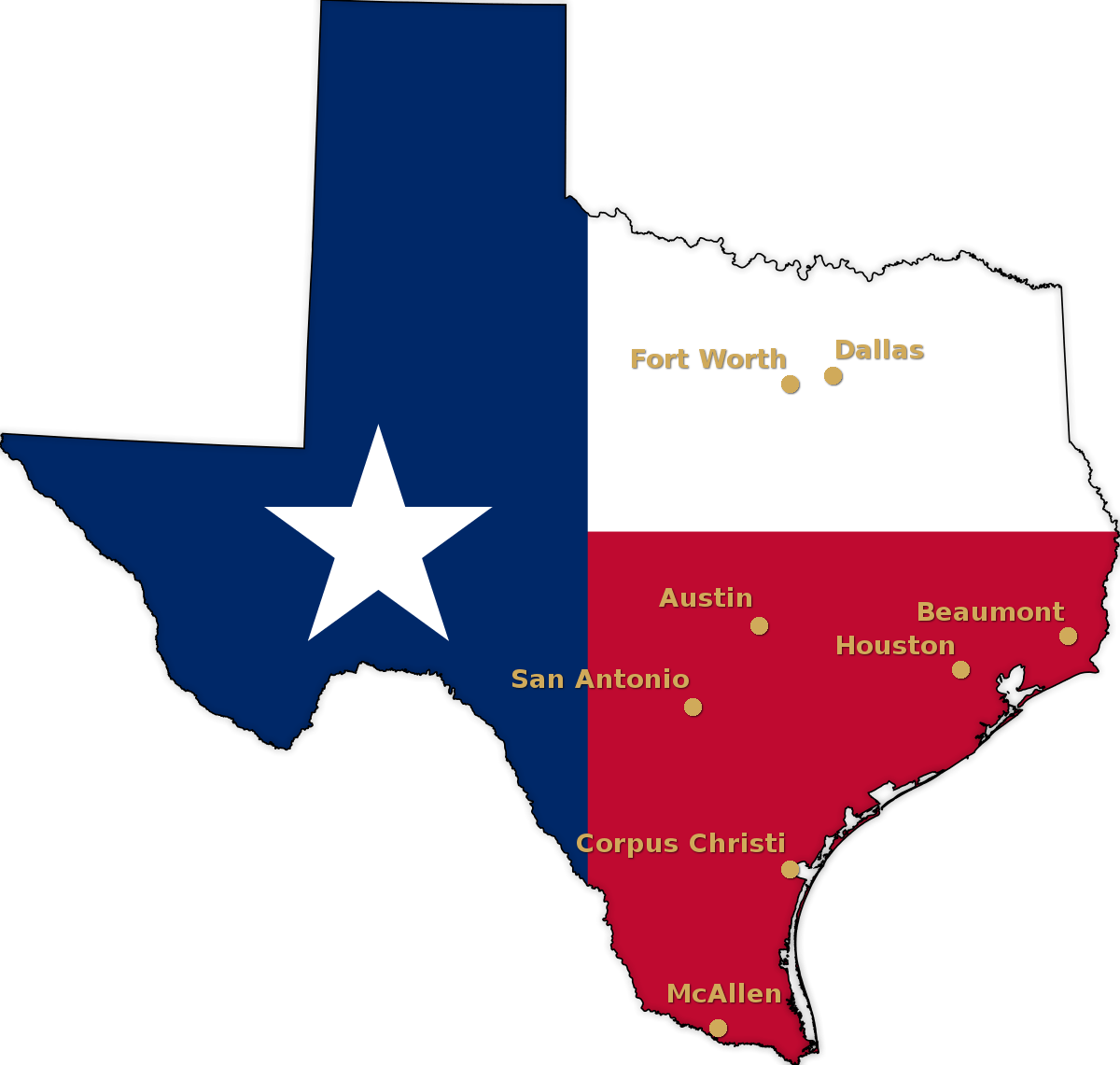 State of Texas flag map